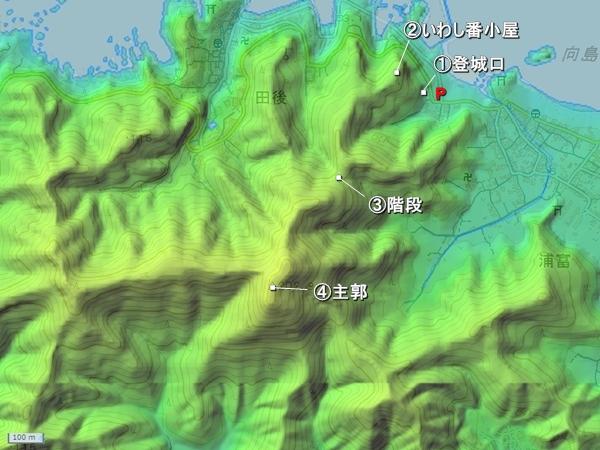 桐山城_地形図