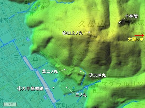 鳥取城_地形図