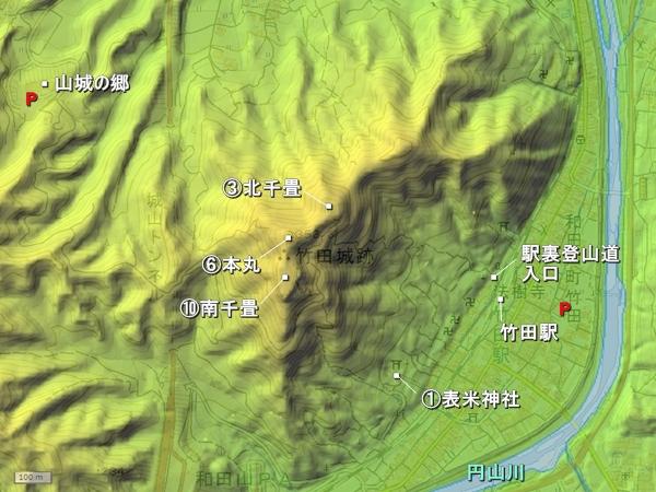 竹田城_地形図