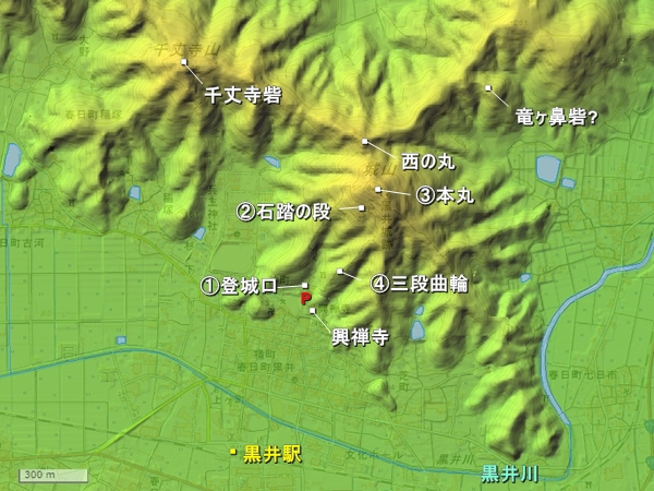 黒井城_地形図