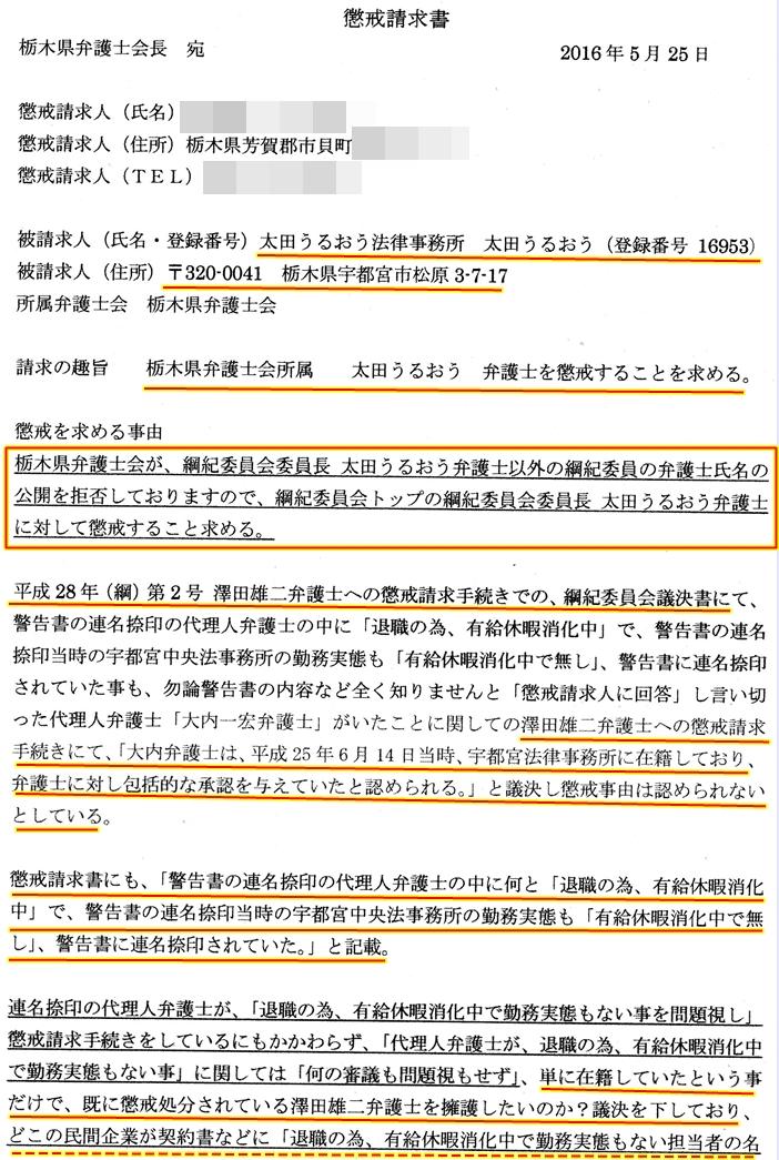 太田うるおう弁護士 綱紀委員会委員長 懲戒請求書面1