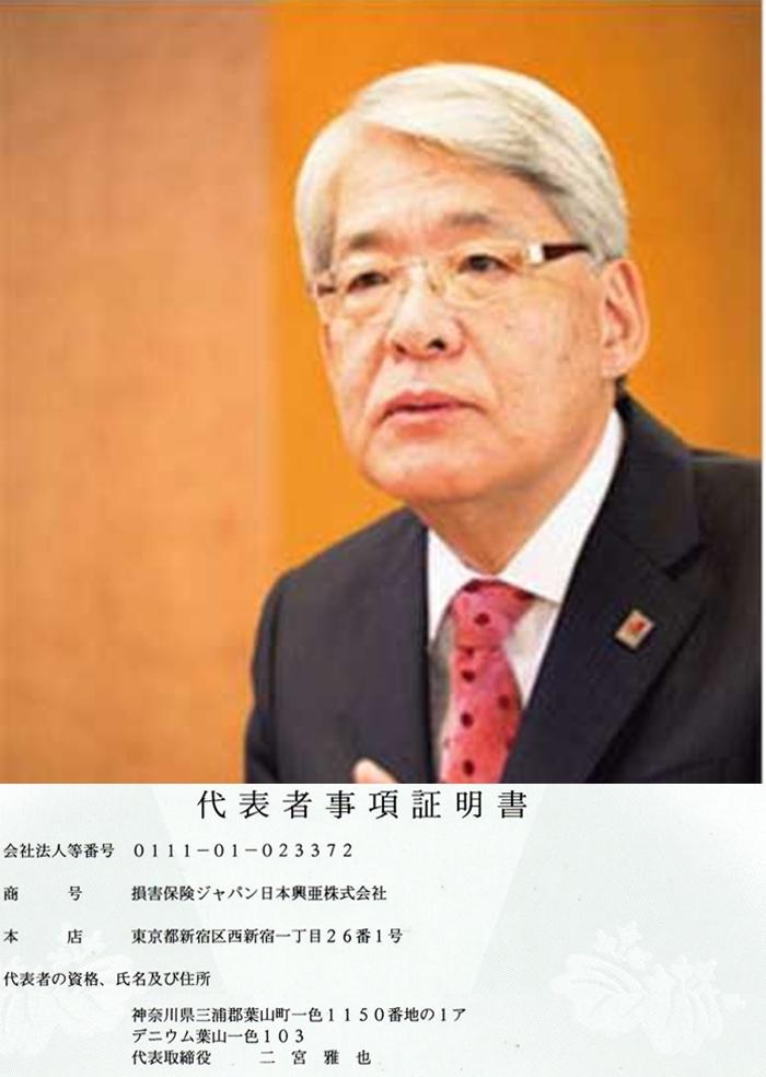 損保ジャパン日本興亜 二宮雅也 代表者事項