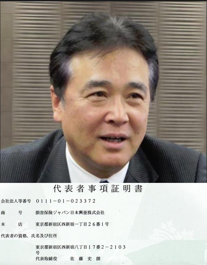 損保ジャパン日本興亜 佐藤史朗 代表者事項