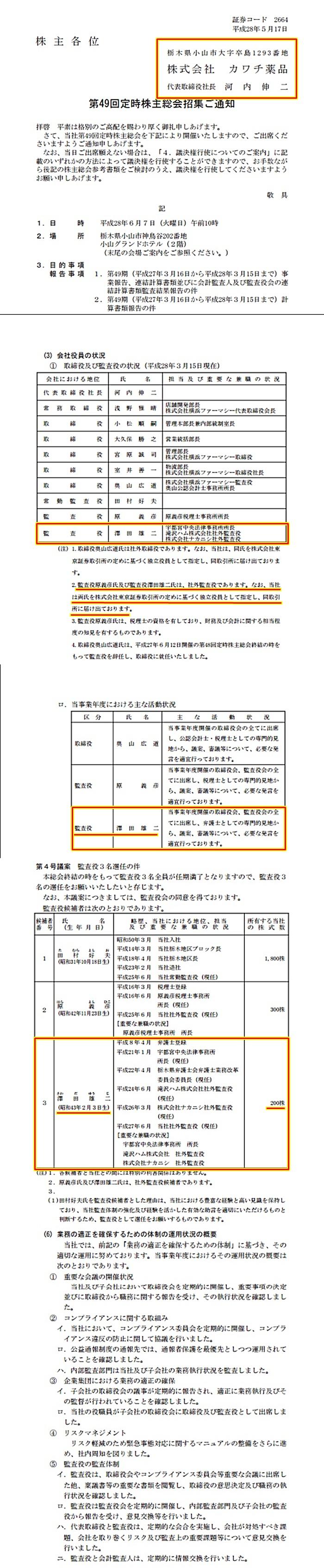カワチ薬品 澤田雄二懲戒処分弁護士 監査役