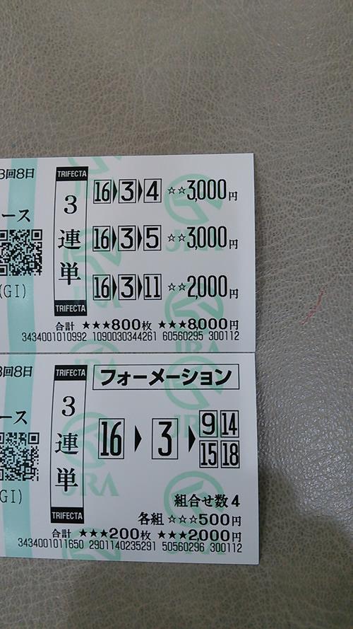 2016年 皐月賞 馬券