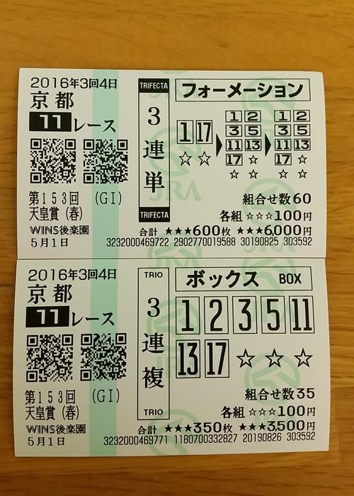 2016年 天皇賞(春) 馬券