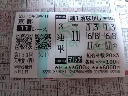 2016年 天皇賞(春) 馬券3