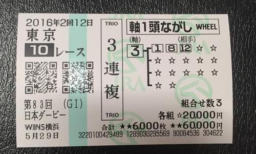 2016年 東京優駿(ダービー) 馬券