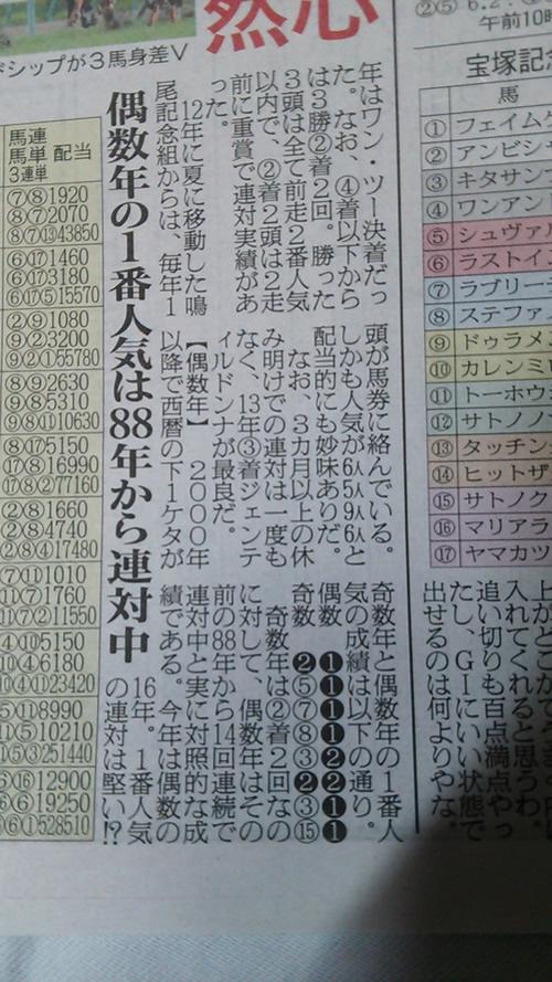 2016年 宝塚記念 偶数