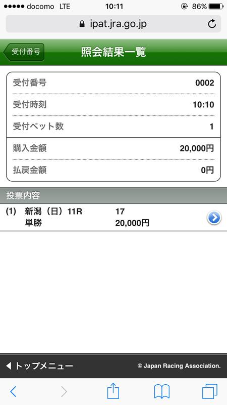 関屋記念 馬券 ヤングマンパワー 2