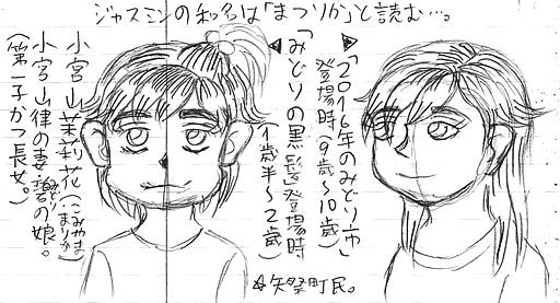 小宮山茉莉花(ラフ画)