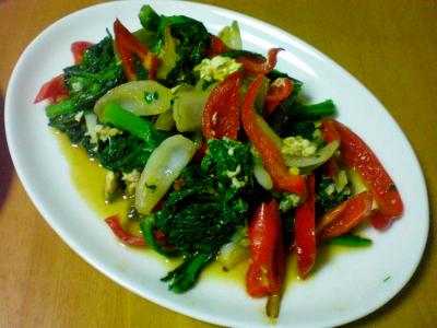 春菊とパプリカの炒め物