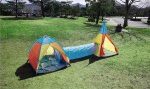 「トンネル連結キッズテント」! ファミリーキャンプに子供用最強テントも持ち込もう♪