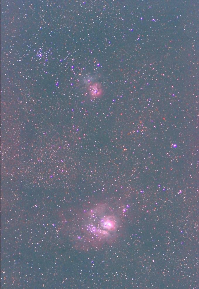 干潟星雲&三裂星雲(20160602)都市部で撮影
