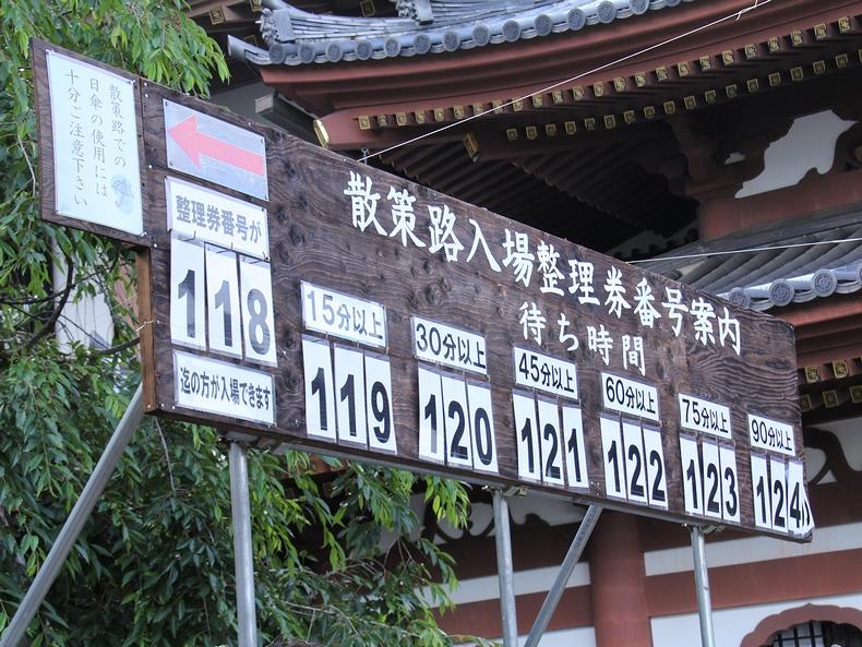 鎌倉長谷寺 あじさい散策路の待ち時間の看板