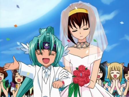 円盤皇女ワるきゅーレSPECIALの子供ハイドラと七村秋菜の洋風結婚式N17
