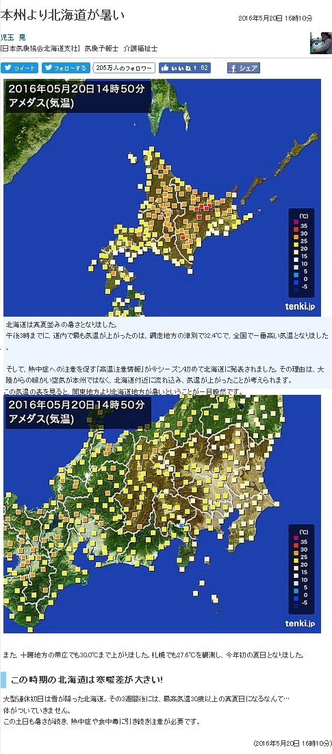 北海道異常高温