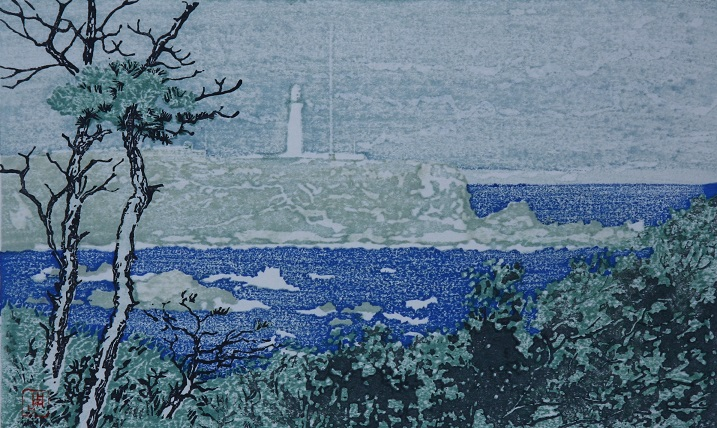 金子周次  青い灯台風景