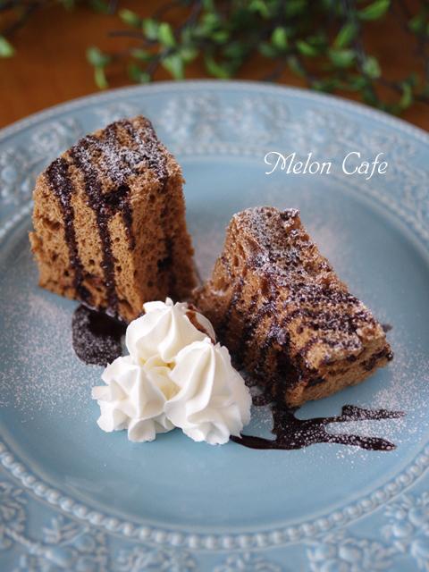 レンジで簡単ホットケーキミックスのココアシフォンケーキチョコチップ入り