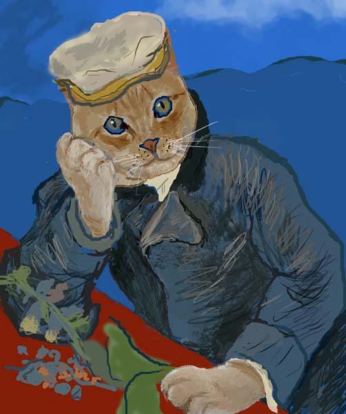 フィンセント・ファン・ゴッホ 【医師ガシェの肖像】 猫で