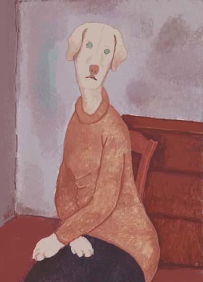 Modiglianiー座るジャンヌ・エビュテルヌの肖像s
