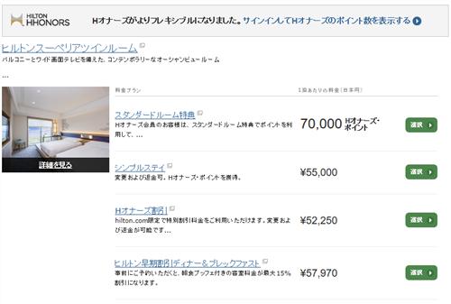 ヒルトン小田原リゾート&スパを70,000ptで予約