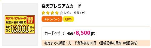 楽天プレミアムカード発行でも8,500ポイント獲得
