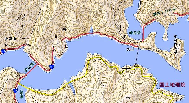 ☆地図 峰谷橋 深山橋 奥多摩湖