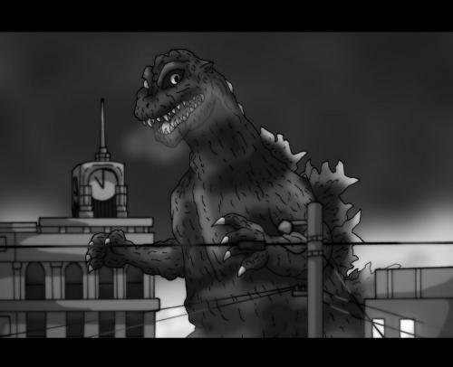 1954年の東京を蹂躙するゴジラ