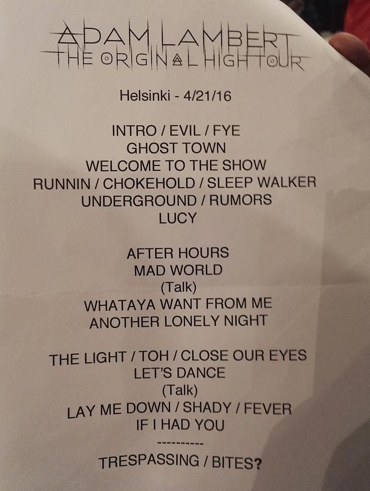 Adam Lambert Helsinki Hartwall Areena Setlist 21.04.2016