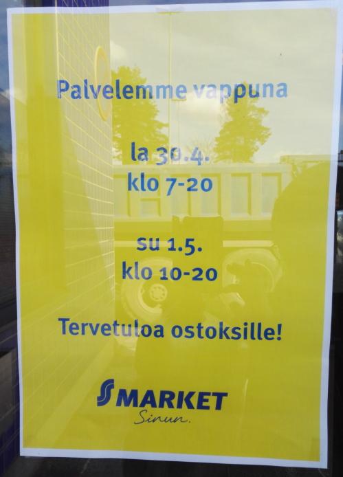 Kauppan aukioloaika Vappu 営業時間 メーデー フィンランド