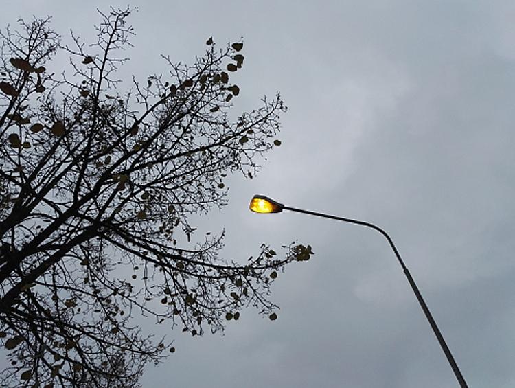 フィンランド 秋の空 午後1時 街灯