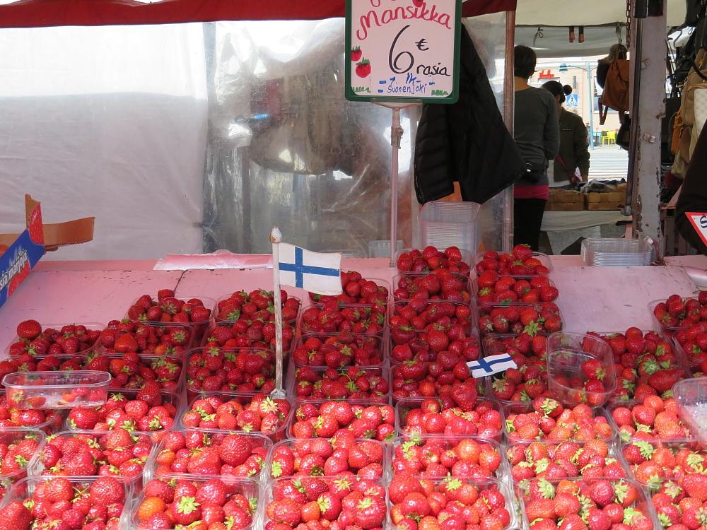 Helsinki ヘルシンキ マ―ケット市場 いちご Mansikka