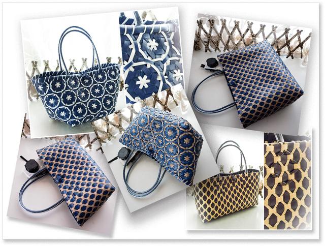 紺色ベースの花まる編みと、ダイヤ&フェンス柄のプラカゴのご紹介