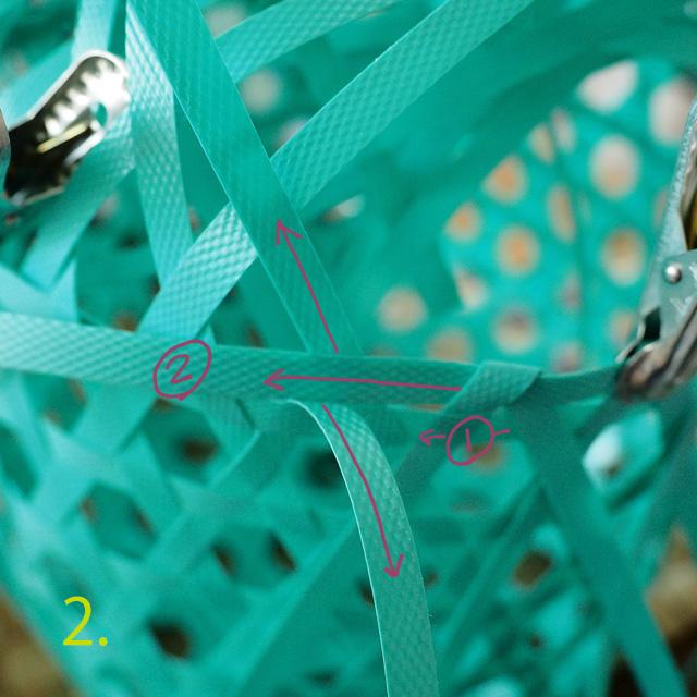 PPバンドで作る花まる編みのプラカゴ