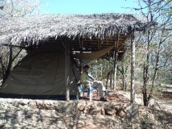 設置されているテント