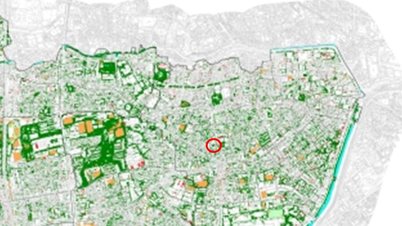 平成22年の新宿区の緑被(拡大)