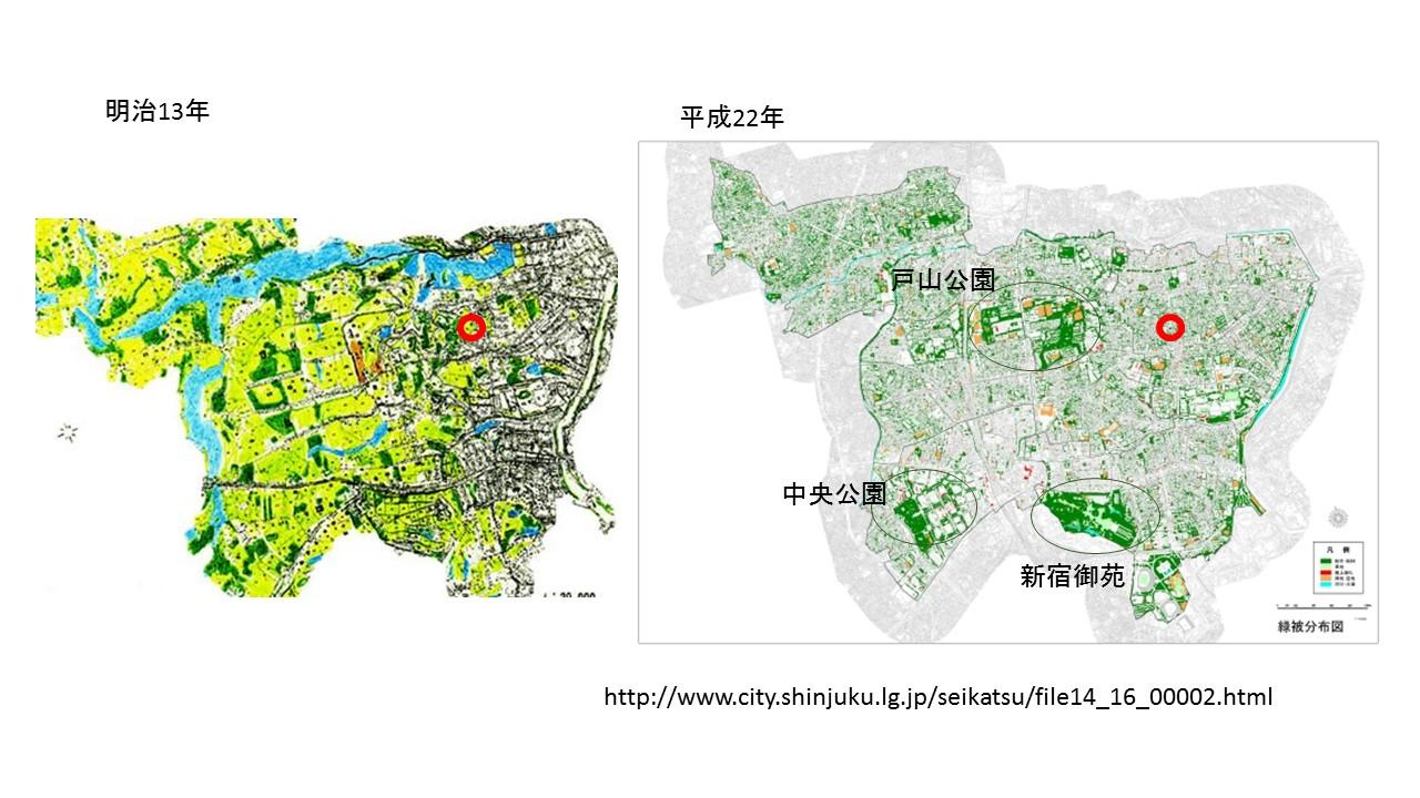 明治13年と平成22年の新宿区の緑被