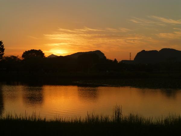 160901柏原公園夕陽0001