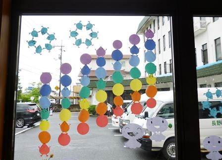 【ケアセンター入口】梅雨の飾りつけ