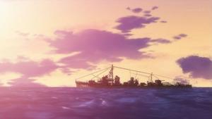 夕暮れの海を行く晴風