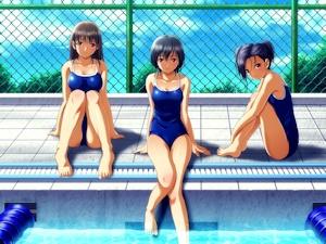 プールの三人