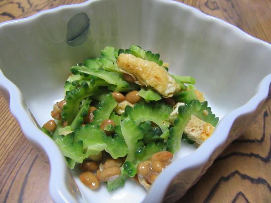 ゴーヤと納豆de塩サラダ