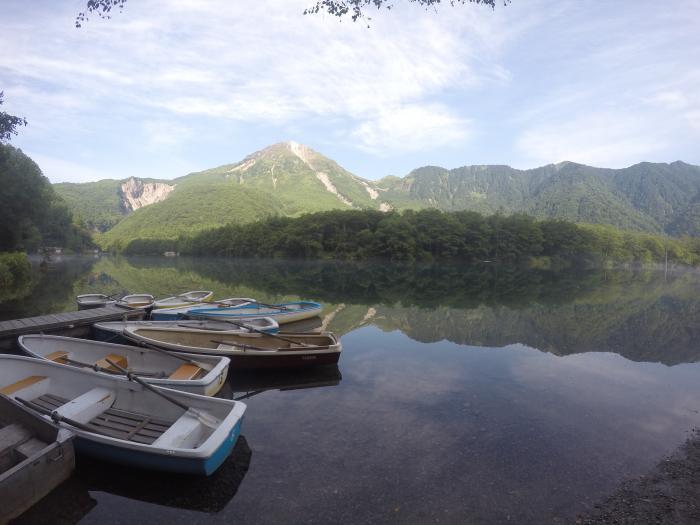上高地160811_大正池と焼岳