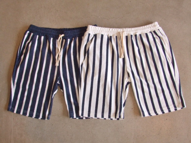 Stripe Pile shorts navy