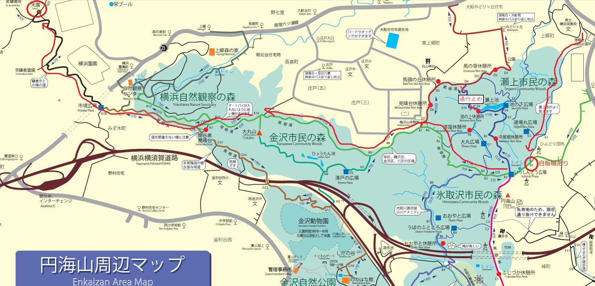 鎌倉トレイルルート図