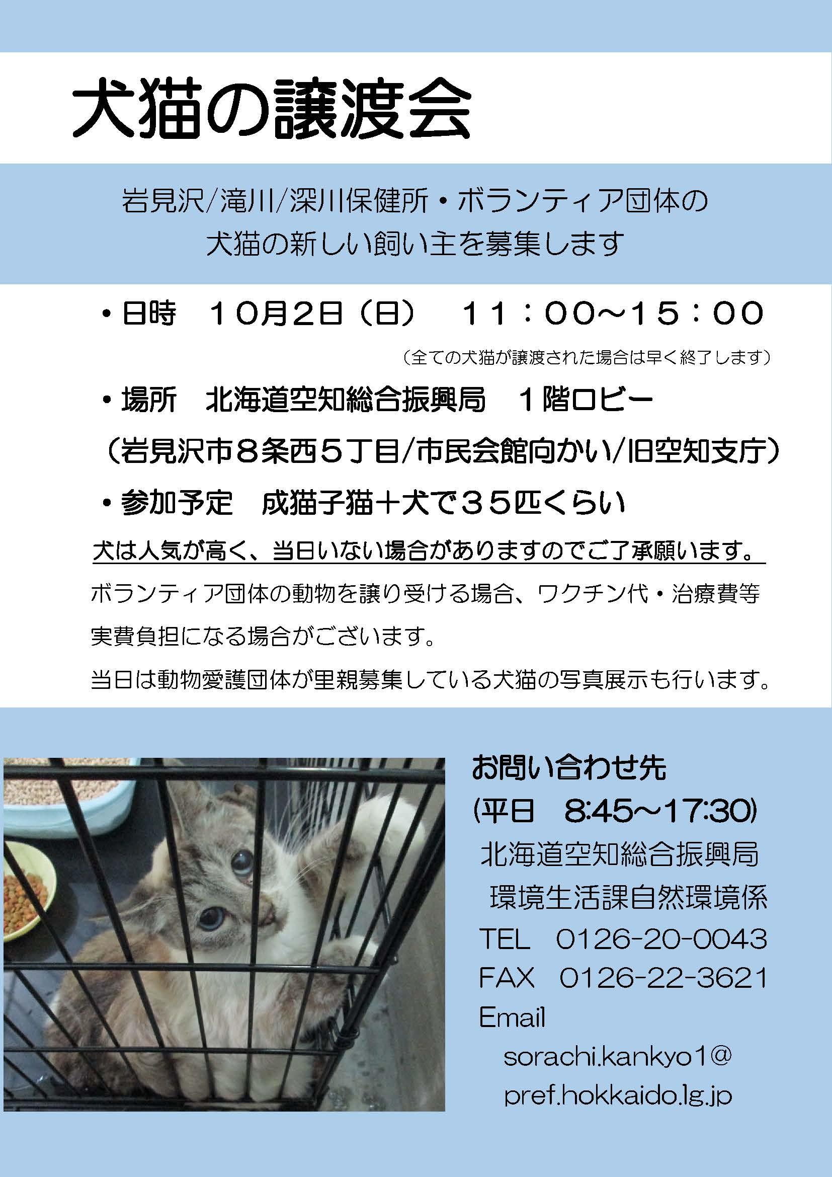 北海道空知総合振興局 犬猫の譲渡会