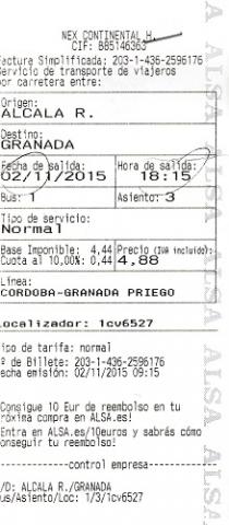 Alcala-Granada autobus