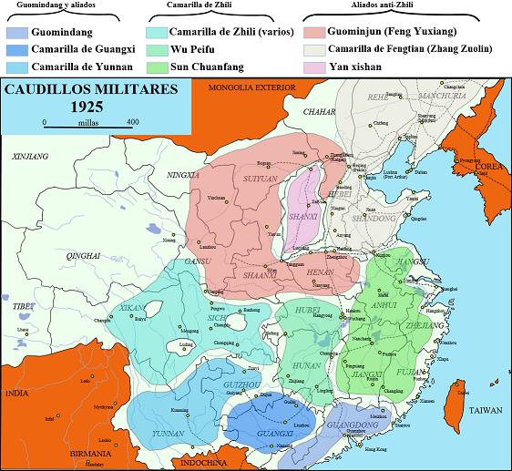 1925年の中国。肌色が奉天派の支配地域