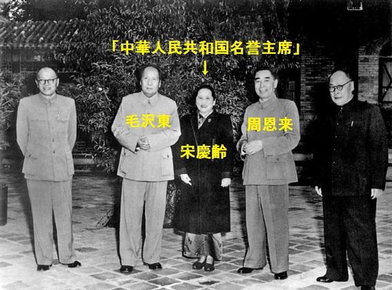 中華人民共和国の首脳陣と(左から張聞天・毛沢東・宋慶齢・周恩来・陳毅)